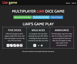 Liar dice game